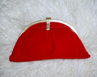 Red Suede Vintage Clutch