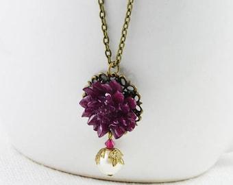 Burgundy Necklace, Flower Necklace, Bronze Necklace, Bronze Jewellery, Bridesmaids Necklace, Everyday Jewellery, Swarovski Pearl Necklace
