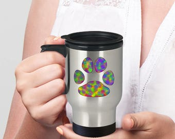 Paw Print Travel Mug Gift with Rainbow Pet Pawprint - Dog or Cat, Insulated Cup - For Pet Lovers, Especially Those Who Like to Travel