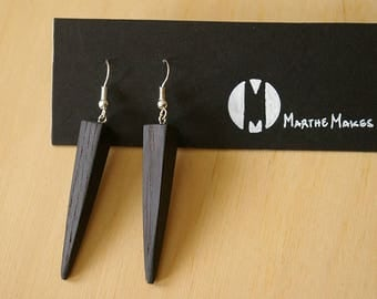 Wooden Earrings Pair Simple Geometric Edgy Pyramid