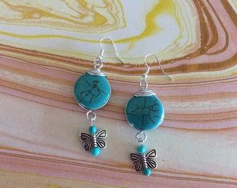Turquoise earrings. Metal Butterfly lightweight