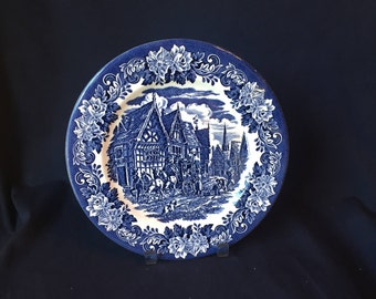 "Blue and White English Ironstone EIT 10"" Display Plate - Village Scene with Coach and Horses"