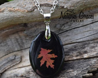 Real Red Leaf Necklace / Autumn Jewelry / Fall Resin Necklace / Stainless Steel