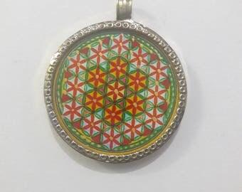 Beautiful Handmade Pendant Necklace, Brass Pendant, Red Flowers, Size 3.2 cm,