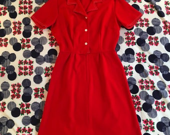 Vintage Red With Contrast White Stitching Diner Style Textured Polyester Aline Short Sleeve Mini Dress Waitress