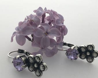 Swarovski Violet Flower antique silver plated lever back nickel free Earring