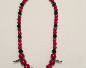Red and Black Leaf Necklace