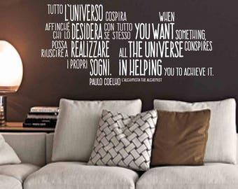The Alchemist, Paulo Cohelo - Wall sticker, wall quote, alchemist quotes, Paulo Cohelo quote, Paulo Cohelo phrase, The alchemist, wall decor