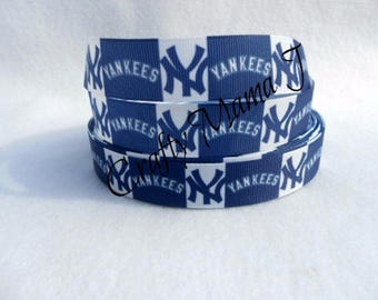 "New York Yankees Baseball 7/8"" Grosgrain Ribbon by the yard. Choose 3/5/10 yards."