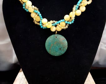 Citrine Necklace, Magnesite Necklace, Calcite Necklace, Gemstone Pendant Necklace, Beaded Necklace, Bohemian Necklace, Gemstone Necklace