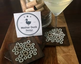Industrial Steel Washer & Birch Wood Coasters, Set of 4