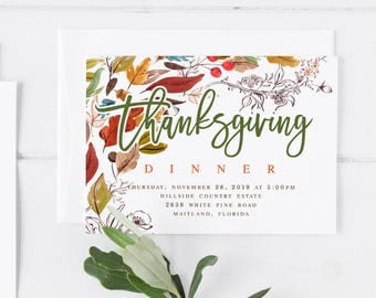 Thanksgiving invitation thanksgiving dinner invite rustic floral thanksgiving invitation template thanksgiving dinner invite editable thanksgiving invitation diy thanksgiving invitation gold stopboris Gallery