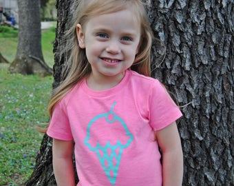 Ice Cream Cone Kids Pink Tee Shirt, Ice Cream Party, Birthday Shirt, Girl