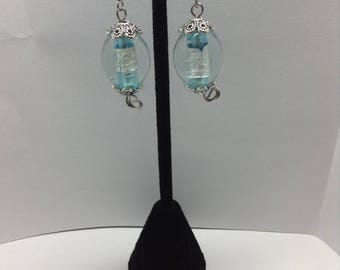 Blue glass bead earrings