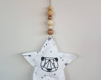 Star hanging and wooden beads