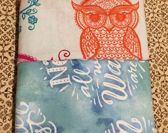 "100% cotton ""Not All Who Wander...."" pillowcase, pillowcover, owls, wander, bedding, standard pillow, unique gift idea."