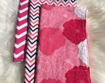 Baby Girl Pink and White Burp Cloths - Set of 3