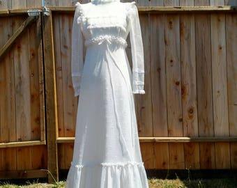 70's boho wedding dress, vinatge bridal, gown with train, retro