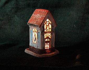 ceramic house - candle holder - lantern - fairy house - candle luminary - home gift