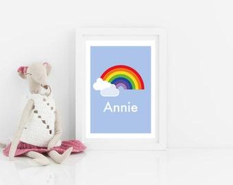 Customisable personalised art print, kids art print, rainbow print, nursery art, scandi kids bedroom art