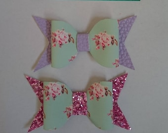 Floral and glitter hair bows