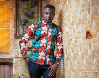 African Shirt, African clothing, African mens shirt, African print, African Mens Wear, African Wax Print, African Shop, African dashiki