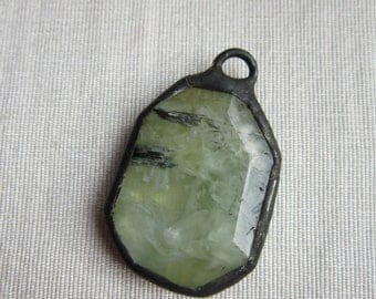 Hand Soldered Pale Green Agate Pendant