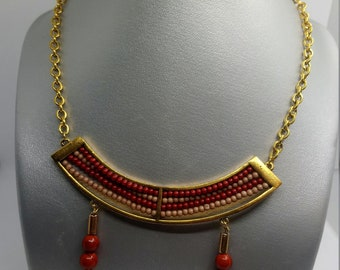 Jasper red ball of 8mm and Golden accessories CJRD1 necklace
