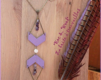 """""""Rock & Wood"""" collection necklace Amethyst"""