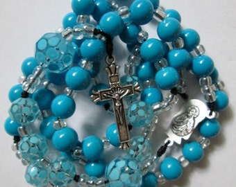 blue rosary,blue rosaries,rosaries,rosary,catholic rosary,rosaries with cord,rosary beads,beaded rosaries,mom,mother,sister,catholic rosary