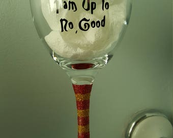 Harry Potter I Solemnly Swear I'm Up to no Good Glitter Wine Glass Gift