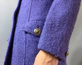 VERSACE Jacket Designer clothing Medusa buttons  Lana wool Size Small Vintage Versace Amethyst Designer jacket Summer Evening Party Day