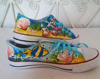 Sneakers, Hand Painted Seabed World, Sea Sneakers, Handpainted Fish Shoes, Fish Sneakers, Seabed Footwear, Sneakers Art, Seabed Fish Shoes