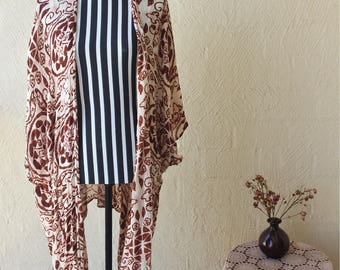 Earthy Flowing Rayon Boho Hippy Kimono