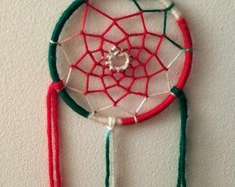 Christmas Dreamcatcher, Red, Green & White Yarn