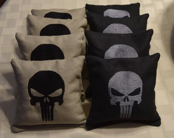 The Punisher Skull Embroidered Cornhole Bags Set of Eight Regulation Bags - Sweet!
