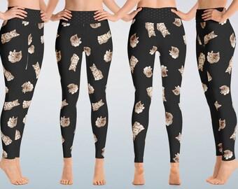 Cat Leggings, Kitty Yoga Pants, Kittens Leggings, Gift for Cat Lovers, Ladies Yoga Pants, Print Leggings, Matching Mom Child Leggings