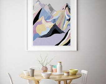 Art print. Dream mountains. Illustration.