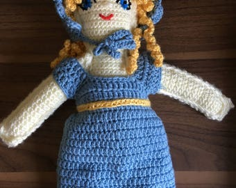 "Large Crochet Doll 14"",  Golden Curly Hair, Edwardian, Simple, Open Ended Handmade Toy great gift under 50,"
