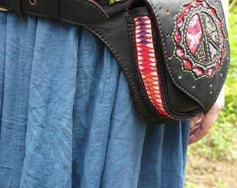 Black Fanny Pack / Hippie Waist Bag / Festival Bag / Peace Fanny Pack