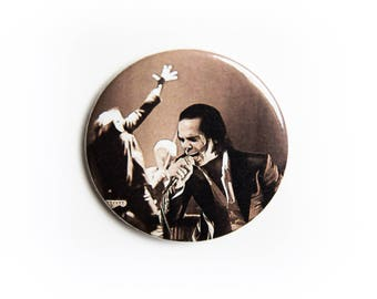 Sepia Nick Cave and The Bad Seeds live concert photography 2 1/4 inch photo pin back button