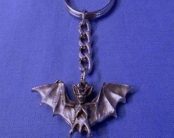 Handmade Pewter Keyring  * Bat*  Full of wonderful detail.   Holds lots of Keys.
