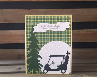 Retirement Card, Cheery Green Plaid Golf Themed Retirement Card