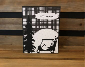 Classy Birthday Golf Card, Black and White Designer Look Background, Black Die Cut Tree and Golf Cart, White Embossed Golf Ball