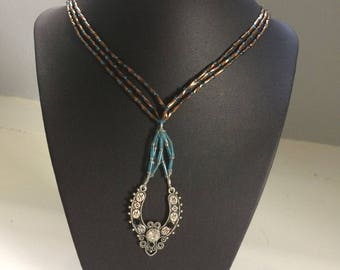 Blue and Brown Triple Stranded Beaded Necklace and Earrings Set