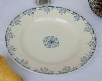 Medium Round French Ironstone Platter. Sarreguemines. Blue and White Transferware. Mignon.