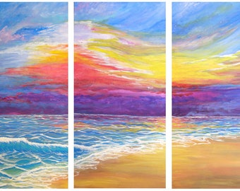 Beach Sunset, acrylic painting, wall art, 3 panel canvas painting