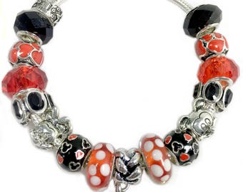 Disney Minnie Mouse and Mickey Mouse Inspired European Charm Bead Bracelet, Fits Pandora Charm, Birthday Anniversary Gift for Mom GirlFriend