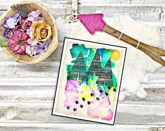 Water Color Tribal Art Print-Teepee with Bear Tracks-Beautiful Instant Digital Print done by hand by Lady Girvi