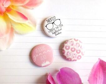 Set of 3 Buttons Bookworm Bookish Book Lover Book Nerd Bibliophile Intellectual Badass Pink Pins